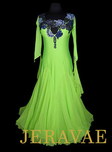 Neon Lime Green Ballroom Dress With Swarovski Stone Lace Detail SMO058 sz Large/X large