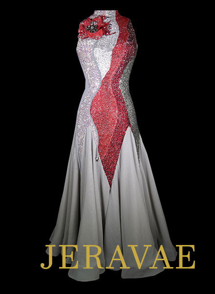 Gray and Red Ballroom Smooth Dress with Flower Accent and Solid Swarovski Stones Size L Smo064