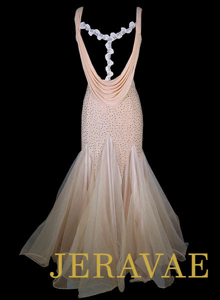 Light Peach Ballroom Standard Dress With White Lace Accents and Swarovski Stones Size L Smo065