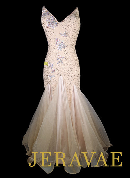 Light Peach Ballroom Standard Dress With White Lace Accents and Swarovski Stones L Smo065