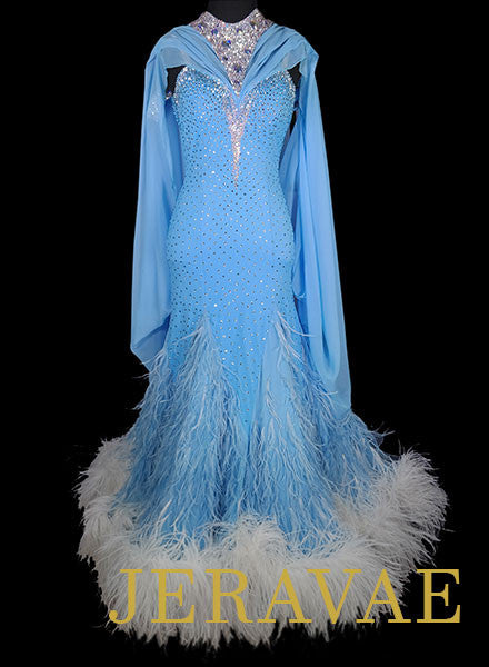 7c131283cb2b Light Blue and White Chrisanne Standard Ballroom Dress With Feather Skirt  Size XS Smo066
