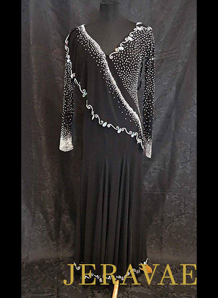 Black Smooth Ballroom Dress with Crystal AB stones SOLD