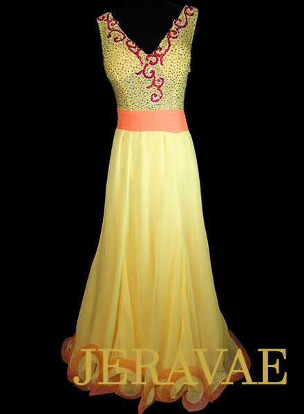 Yellow and Orange Smooth Dress with Lace and Swarovski Stones Size S/M SMO076