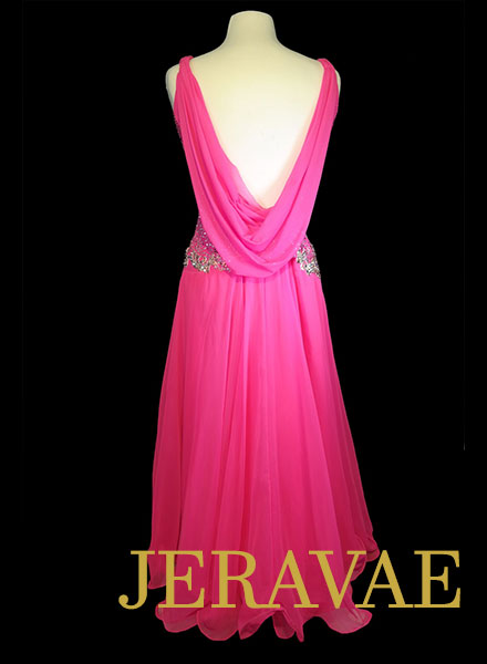 Hot Pink Smooth Dress with White Lace and Swarovski Stones Size Large SMO077