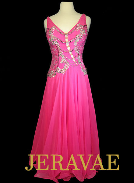 Hot Pink Smooth Dress with White Lace and Swarovski Stones Size Large SMO077 SOLD