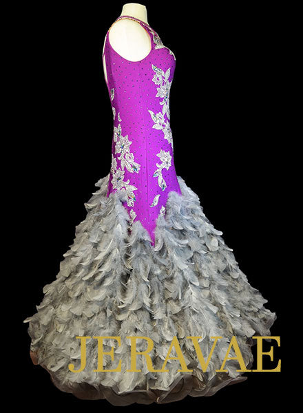 Purple and Grey Smooth Dress with Grey Feathers, Grey Lace, and Swarovski Stones Size Medium/Large SMO078