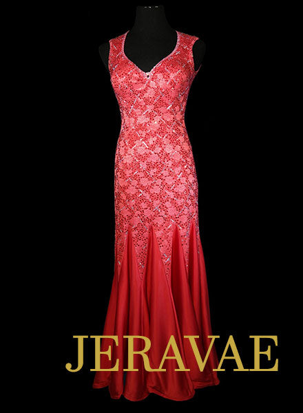 0e254fd529 Fuschia Smooth Dress with Lace Bodice and Swarovski Stones Size Medium  SMO082 SOLD