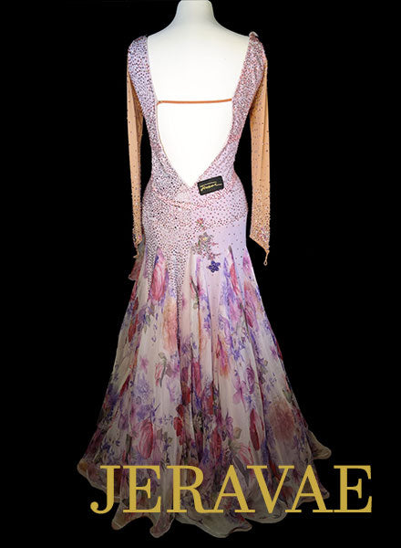 Purple and Nude Smooth Dress with Floral Skirt and Swarovski Stones Size L/XL SMO085