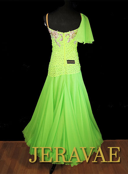 Lime Neon Green Smooth Ballroom Dress with 3D Flower and White Lace and Swarovski Stones Sz M/L