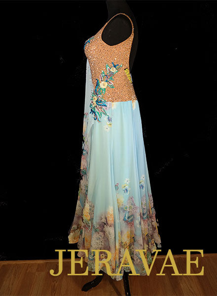c3ba9438e8d0 ... Light Blue faded Chiffon Ballroom Dress with Floral Skirt and Lace  Applique Solid Swarovski Stons Sz