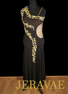 Black Smooth Dress with Gold Lace and Swarovski Stones SMO093