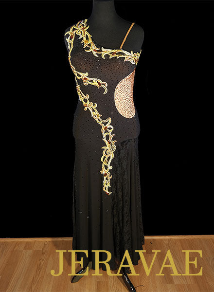 Black Smooth Dress with Gold Lace and Swarovski Stones