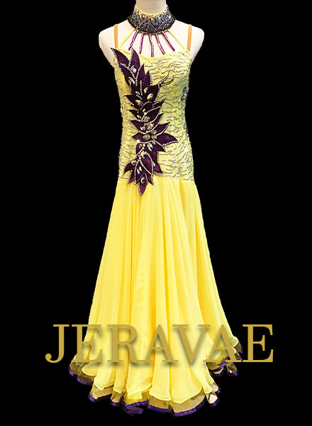 2f91890cd17a Sunshine Yellow Smooth Ballroom Dress with Purple Accents and Halter Collar  SZ L