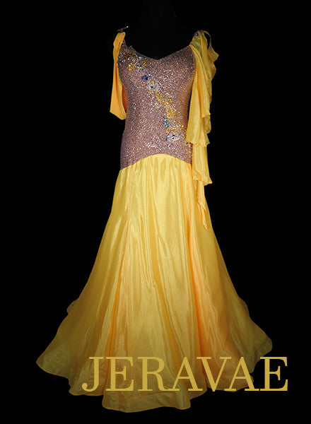 Golden Yellow and Nude Standard Ballroom Dress with Yellow Accents and Solid Swarovski Stones