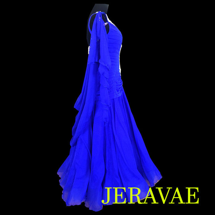 ROYAL BLUE BALLROOM STANDARD DRESS WHITE LACE & ROUCHED BODICE SMO062