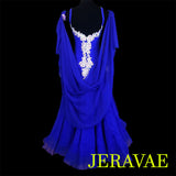 ROYAL BLUE BALLROOM STANDARD DRESS WHITE LACE & ROUCHED BODICE SMO062 sz Large SOLD