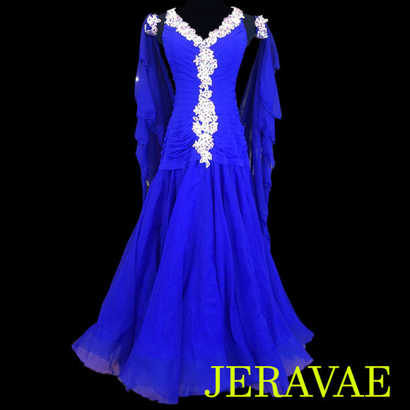 ROYAL BLUE BALLROOM STANDARD DRESS WHITE LACE & ROUCHED BODICE SMO062 sz Large