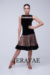 High Waist Leopard or Black Latin Practice Skirt and Matching Short Sleeve Practice Top with Velvet Hem and Accents Pra453