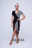 "Latin or Rhythm ""Wrap"" Practice Dress with Black and White Stripes and Short Sleeves Pra394"