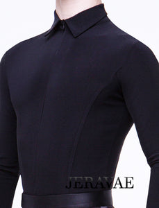 Men's or Boy's Ballroom/Smooth Competition Shirt with Zipper Closure and Tailored Cut Features Built in Bodysuit Available in Black M021