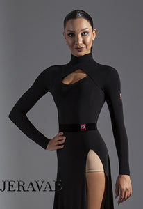 Long Sleeve High Neck Practice Top with Keyhole Cutout.  Tuck out Style, No Bodysuit Attached.  Available in Red or Black Pra582