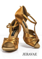 Grand Prix Batucada T-Strap Latin Ballroom Shoes with Petal Cut Outs and Thin Heel Available in Tan and Black