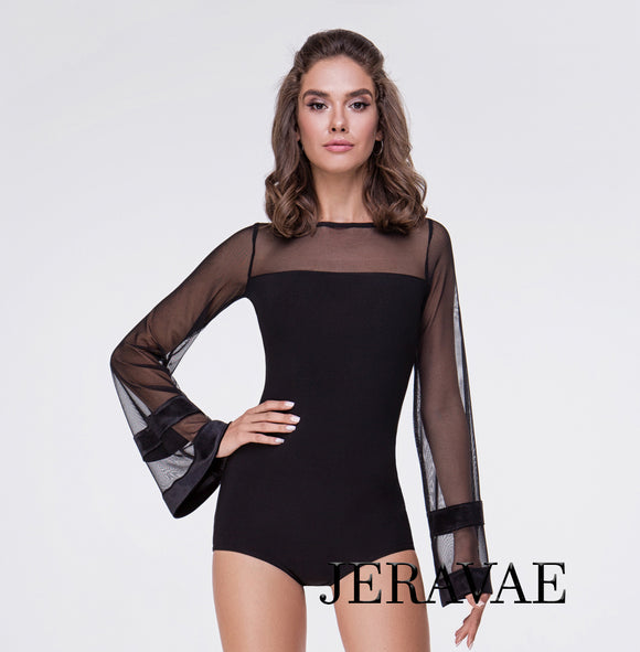 Ballroom or Latin Practice Top with Long Mesh Sleeves and Velvet Details.  Pra550