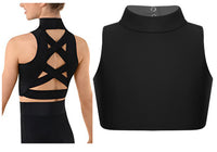 Alina High Neck Fitness Dance Top with Crossed Back Design. Available in 3 Colors