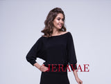 Loose Ballroom Practice Top with 3/4 Sleeves in Red or Black With Boat Neck and Soft Cuffs  Pra557