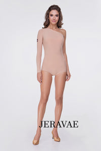 Light Tan/Nude Ballroom or Latin Long Sleeve Bodysuit Practice Top With Single Sleeve Pra552