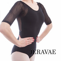 Ursa Half-Length Sleeve Women's Ballet Leotard with Abstract 3D Lines Stretch Mesh Back and Sleeves