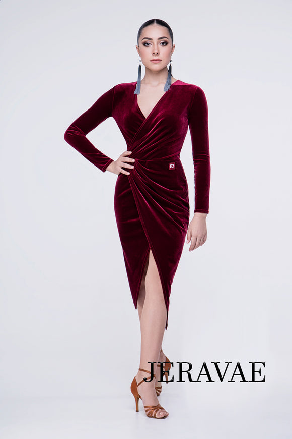 Velvet Long Sleeve Faux Wrap Latin or Rhythm Practice Dress with Slit Pra360