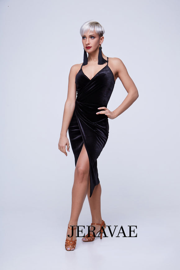 Sexy Sleek Velvet Latin Practice Dress with Spaghetti Straps that Cross in the Back Pra400