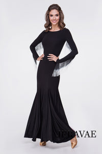 Long Sleeve Ballroom Practice Dress with Black and White Ombre Fringe Floats and Soft Hem Pra625