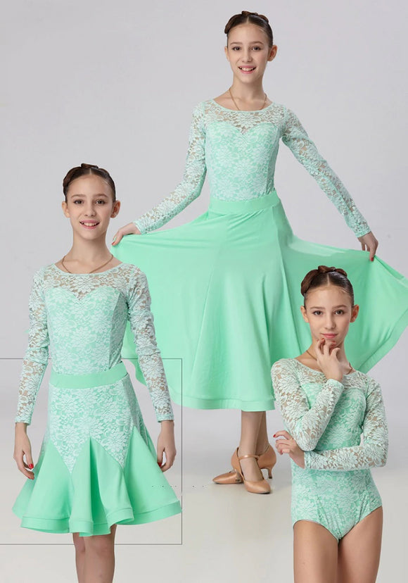 Three Piece Competition Dress For Girls with Lace and Bodysuit. Lace Bodice and Velvet Skirt