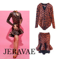 Girls Youth Leopard Print 2 Piece Latin Competition Costume with Key Hole Details and Long Sleeves YOU002