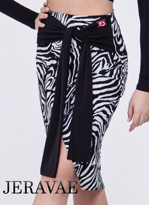 Zebra, Leopard Print or Black Pencil Latin Practice Skirt with Front Sash Tie and Short Slit Pra640