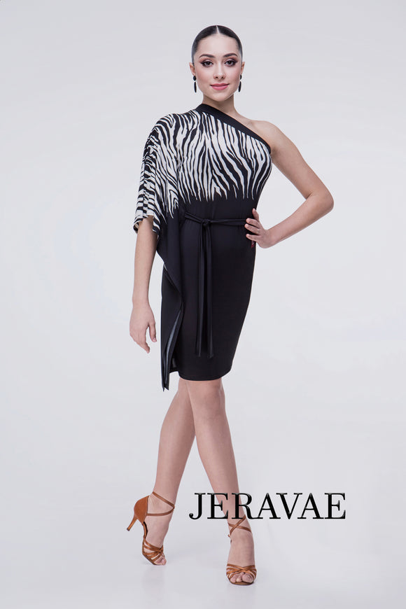 Black Latin Practice Dress with Zebra Print Top and Single Butterfly Sleeve Pra359