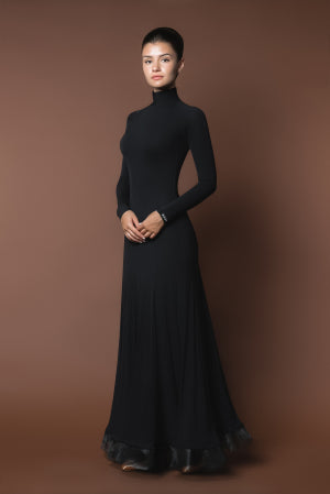 Sleek Long Practice Dress with Long Sleeves, Turtleneck and Horsehair Trim Pra370