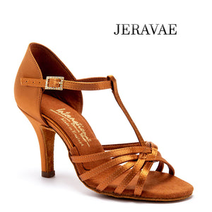 International Dance Shoes IDS Bela Latin Practice Shoes with T Strap and Slim Tapered Heel