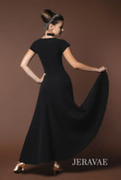 Sleek Black Ballroom Practice Dress with Short Sleeves and Wrapped Horsehair Hem Pra 617