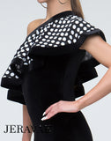 Black Velvet Rhythm/Latin Practice Dress with Over-the-Shoulder White Polka Dot Ruffle Pra304