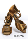 "Grand Prix ""Samba"" Latin Dance Shoes with Double Buckle Toe Straps and Crossed Ankle Strap"