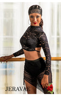 Ultra Sexy Crop Long Sleeve Ballroom or Latin Practice Top with High Collar and Open Back Pra663