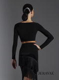 Simple Crop Practice Top for Ballroom Or Latin.  Features Long Sleeves and High Neck Pra603