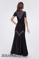 Black Ballroom Practice Dress WIth Chevron Pattern Striped Mesh and Short Sleeves Pra627