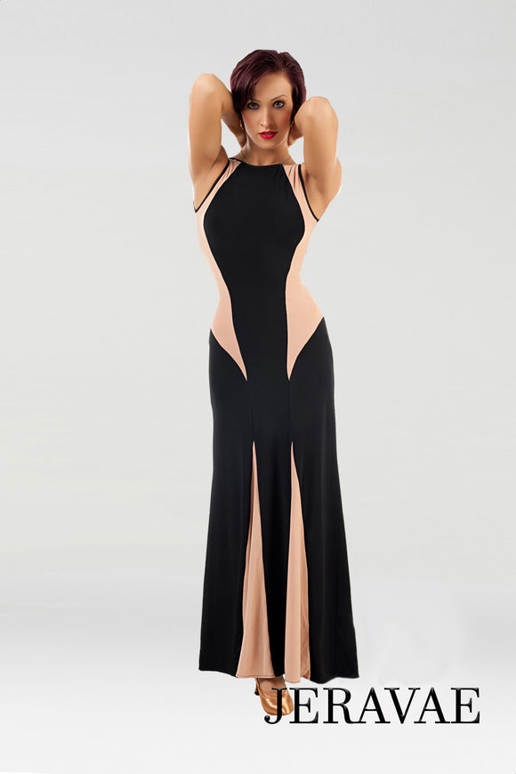 Long Sleeveless Ballroom Practice Dress with Black and Nude Fabric Color Blocking  Pra095