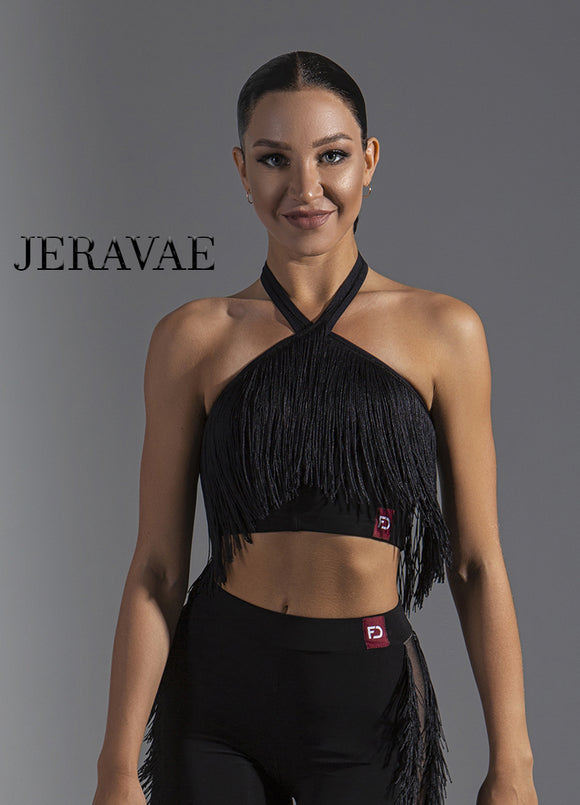 Crop Top Latin Practice Top With Fringe Accents and Halter Neckline  Pra597