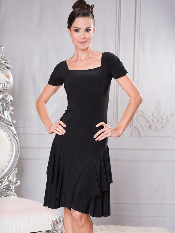 D002 - SHORT CAP SLEEVE PRINCESS CUT LATIN DRESS BY DANCE AMERICA With Double Layer Skirt, and Square Neckline
