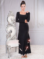 D003R- RHINESTONED LONG SLEEVE PRINCESS CUT BALLROOM DRESS WITH SQUARE NECKLINE AND SHORT SLEEVES BY DANCE AMERICA